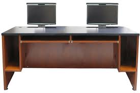 dual computer desk for home ds 7230 dual user desk two monitor lifts exact furniture av
