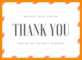 Printable Thank You Cards For Teachers Teacher Thank You Cards Template