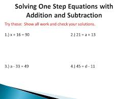 6 solving one step equations with addition