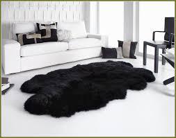large black sheepskin rug