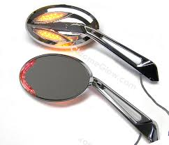 oval motorcycle mirrors with led turn signals