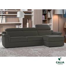 calia italia bellagio grey italian leather sofa chaise right facing