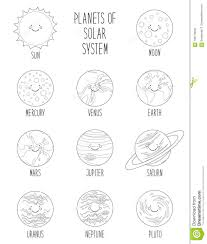 Cute Coloring Pages Of Smiling Cartoon Characters Of Planets Of