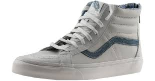 vans sk8 hi zip ca leather and nubuck blanc de ankle high fashion sneaker 12m 10 5m in gray for men lyst