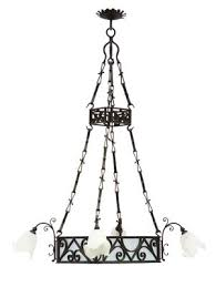 large antique wrought iron and frosted glass chandelier 1