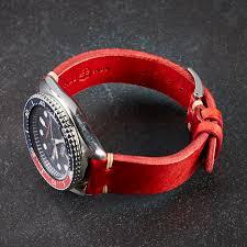 red cream stitch vintage leather watch strap
