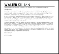 Portfolio Cover Letter Example Portfolio Analyst Cover Letter Sample Cover Letter Templates