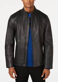 alfani men s full zip leather jacket created for macy s