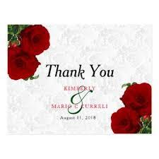 Wedding Thank You Samples Deep Red Rose Floral Wedding Thank You Postcard Pattern