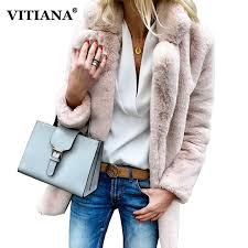 vitiana women plus size colored casual faux fur coat las 2018 autumn winter elegant pink warm soft outwear oversize jacket