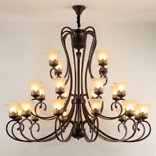 24 lights high ceiling vintage country island painting metal chandeliers with glass shades for living room