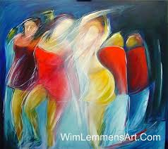 abstract art dancing women finished for large image
