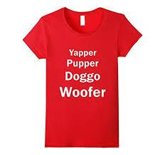 Womens Doggo Size Chart Yapper Pupper Doggo And Woofer T Shirt Small Red