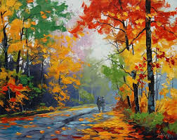 romantic nature paintings of couple walk in the road