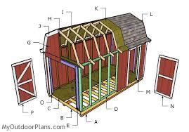 12x16 Gambrel Shed Plans With A PorchGambrel Roof Plans