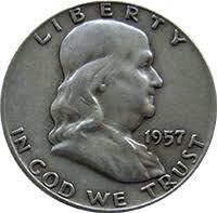 1959 Franklin Half Dollar Value Chart 1957 Ben Franklin Half Dollar Value Cointrackers