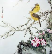 free chinese yellow bird plum tree scenery oil painting canvas printings on canvas home wall