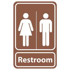 restroom signs. Fine Restroom Rectangular Plastic Brown Restroom Sign Throughout Signs
