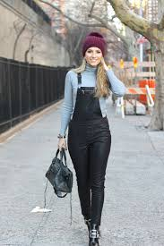 how to wear grey turtleneck black leather overalls black leather ankle boots