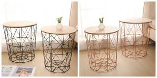 modern set of 2 wire side tables tray