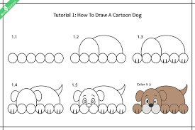 dogs drawings step by step. Fine Dogs How To Draw A Cartoon Dog Images And Dogs Drawings Step By O