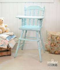 aqua blue vintage wooden baby high chair with hand painted plate spoon fork tray design boy or girl distressed chic