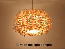 wicker pendant light. Willlustr Wicker Pendant Lamp Handmade Suspension Light Bird Nest Shape Hanging Lighting Bar Hotel Restaurant Mall 0