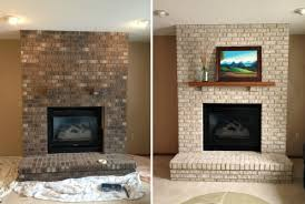 image of painted brick fireplaces before after