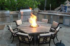 image of natural gas fire pit table dining