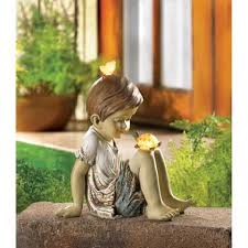children garden statues. Children Statues Solar Garden Sculptures Concrete Outdoor Decor Angel Resin Lawn Yard Patio Ornament Decorative