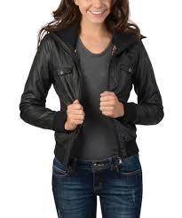 Ci Sono By Cavalini Black High Collar Faux Leather Jacket