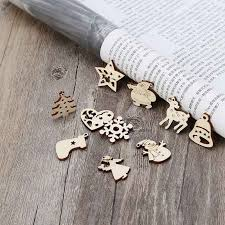 <b>50pcs</b> Laser Cut <b>Wood</b> Embellishment <b>Wooden</b> Winter Festival ...