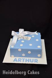 Christening Cake Boy 8 Blue And White Dots Heidelberg Cakes
