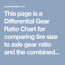 Tire Size Rpm Chart This Page Is A Differential Gear Ratio Chart For Comparing