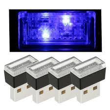 <b>4PCS Mini USB</b> Blue <b>LED</b> Car Interior Light Neon Atmosphere ...
