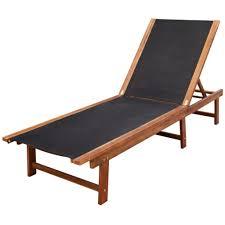 Details about sunlounger acacia wood patio chair adjustable bench garden patio yard beach