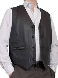 ashwood mens smart very soft real leather waistcoat with back buckle belt black 9
