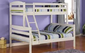 Wood Twin / Double Bunk Beds Bedroom Set Wood Bunk Bed  White  In Double