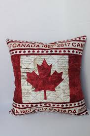 Canada 150 Canadian Flag Quilted Throw Pillow Cover 12 inches ... & Canada 150 Canadian Flag Quilted Throw Pillow Cover 12 inches square with  newsprint fabric Adamdwight.com