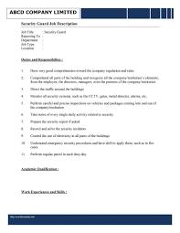 Resume Security Guard Duties Service Technician Cover Letter