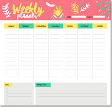 Student Weekly Planner Template 10 Students Weekly Itinerary And Schedule Templates