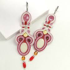 pink soutache earrings pink chandelier earrings long chandelier earrings big earrings statement earrings long earrings pink