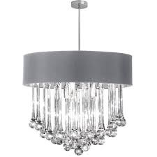 dainolite 8 light polished chrome chandelier with glass droplets in silver shade