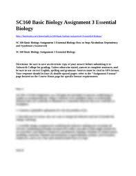 sc basic biology assignment essential biology docx sc160 basic biology assignment 3 essential biology hwminute com s sc160 basic biology assignment 3 essential biology sc160 basic biology
