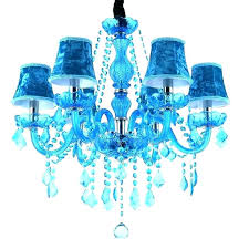 red crystal chandelier blue light turquoise crystals