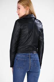 image women s black faux leather jacket image women s black faux leather jacket