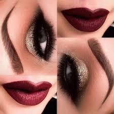 gold glitter smokey eye makeup