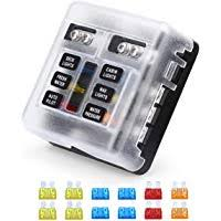 amazon best sellers best automotive replacement fuse boxes vetomile 6 way blade fuse block independent circuits 32v fuse box led indicator for