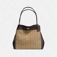 COACH f57612 LEXY SHOULDER BAG IN OUTLINE SIGNATURE IMITATION GOLD KHAKI  BROWN