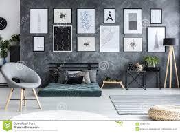 Futon Interior Design Grey Armchair In Spacious Living Room Interior With Green